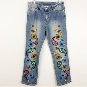 Lilly Pulitzer vintage embroidered bootcut jeans